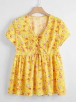 Yaz Çiçek Sarı Peplum Gömlek