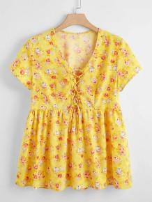 Summer Floral Yellow Peplum Shirt