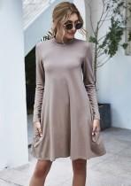 Sonbahar Düz A-Line Cep Gömlek Elbise