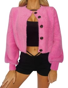 Autumn Short Plush Coat with Pop Sleeves