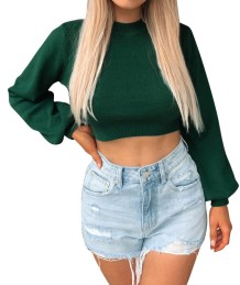 Autumn Knitted Plain Crop Top with Pop Sleeves