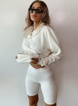Autumn Plain Hoodie Zweiteiliger Shorts Trainingsanzug