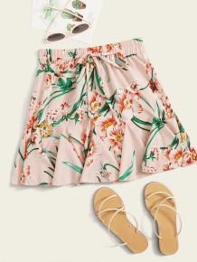 Summer High Waist Floral Short Ruffle Skirt