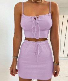 Summer Purple Two Piece Crop Top and Mini Skirt Set