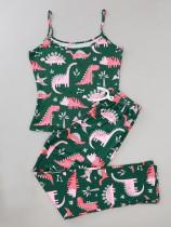 Frauen Sommer Print zweiteilige Hosen Pyjama Set