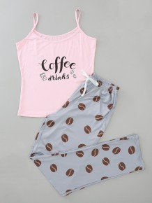 女性夏プリントツーピースパンツパジャマセット