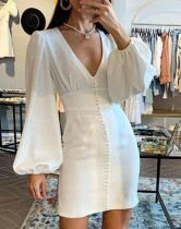 Mini vestido blanco profundo sexy con mangas pop