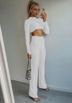 Conjunto de pantalón corto y cintura alta con cordones en color liso
