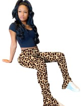 Pantalon empilé léopard taille haute sexy