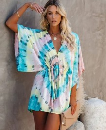 Tie Dye V-Neck Rompers with Bat Sleeves