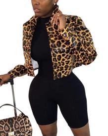 Chaqueta de manga larga con cuello de leopardo africano
