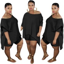 Plus Size einfarbiges zweiteiliges Shorts-Set