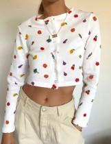 Crop top blanc à manches longues et boutons imprimés