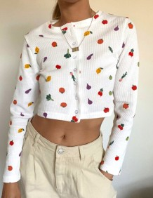 Print White Button Up Long Sleeve Crop Top