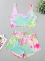 Frauen Sommer Print zweiteilige Shorts Pyjama Set