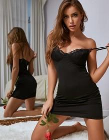 Seksi siyah kayış uyku elbise