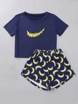 Conjunto de pijama de dos piezas con estampado de verano para mujer