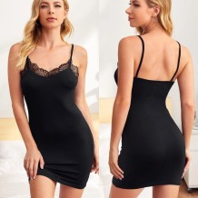 Women Black Sexy Strap Slim Sleeping Dress