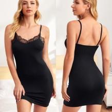 Mulheres cinta sexy preto vestido de dormir magro