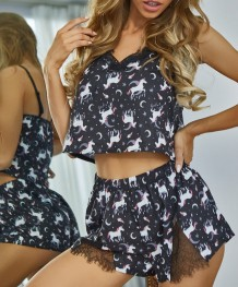 Sexy Animal Print Zweiteilige Shorts Pyjama Set