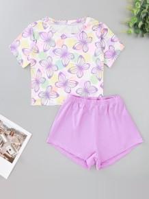 女性の夏プリントツーピースショーツパジャマセット