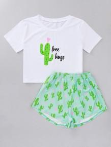 Dames Zomerprint Tweedelige shorts Pyjama Set