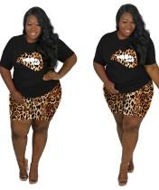 Set di pantaloncini leopardati in due pezzi con stampa labbra estive taglie forti
