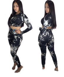 Set di top e pantaloni Crop Dye africani