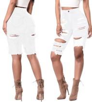 Sexy Jeans-Shorts mit hoher Taille und Riss
