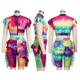 Summer Tie Dye Ruffles Crop Top y Shorts Set