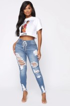 Stilvolle High Taille Strings Ripped Jeans
