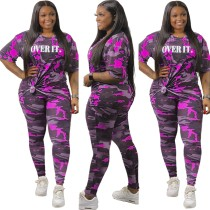 Plus Size Summer Camou Zweiteiliges Hosen-Set