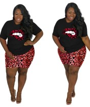 Plus Size Summer Lips Print Zweiteiliges Leoparden-Shorts-Set