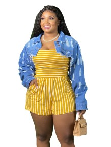 Plus Size Casual Striped Strapless Rompers