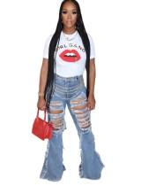 Sexy Jeans mit hoher Taille und Bell Bottom