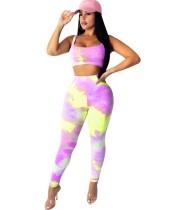 Sexy Tie Dye Crop Top und Legging Set