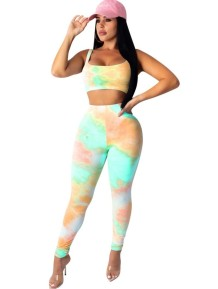 Sexy Tie Dye Crop Top and Legging Set