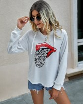 Autumn Tongue Print Hoodie Shirt