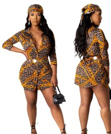 Print African Blouse Dress with Head Scarf