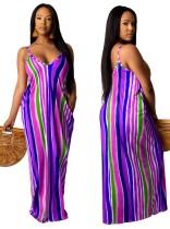 Maxi abito lungo con stampa a strisce africane