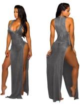 Robe de soirée longue sexy fendue métallisée sans manches
