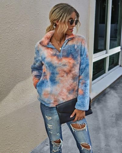 Sweat-shirt en peluche effet tie-dye d'automne