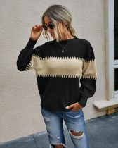 Suéter de punto regular en contraste de otoño