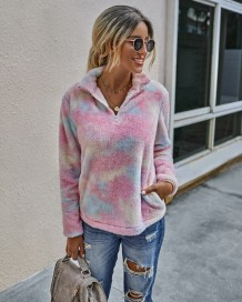 Autumn Tie Dye Plush Pullover Sweat Top