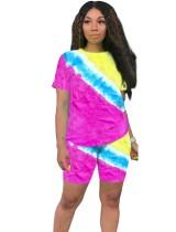 Conjunto de pantalones cortos de dos piezas con efecto tie dye