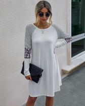 Herbstliches Langarm-Hemdkleid mit O-Ausschnitt