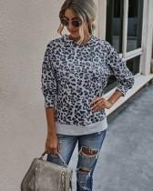 Sudadera con capucha y estampado de leopardo de otoño