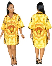 Summer Print Retro African Long Blouse
