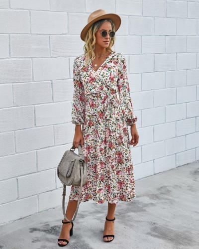 Western Long Sleeve Wrapped Floral Long Dress