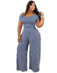 Plus Size Striped Casual Jumpsuit with Short Sleeves